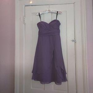 Purple strapless bridesmaid dress
